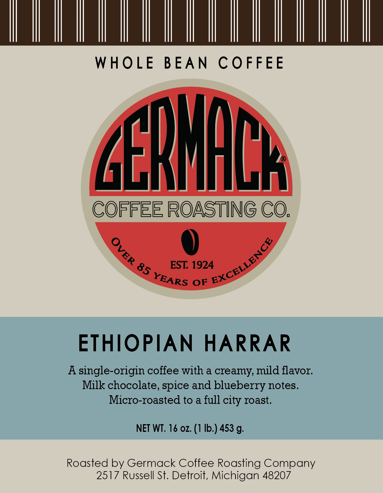 Germack Coffee Ethiopian Harrar - 12 oz. Avail approx Jan 28th